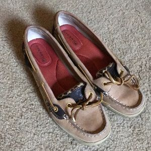 Excellent condition Sperry top siders gold leopard